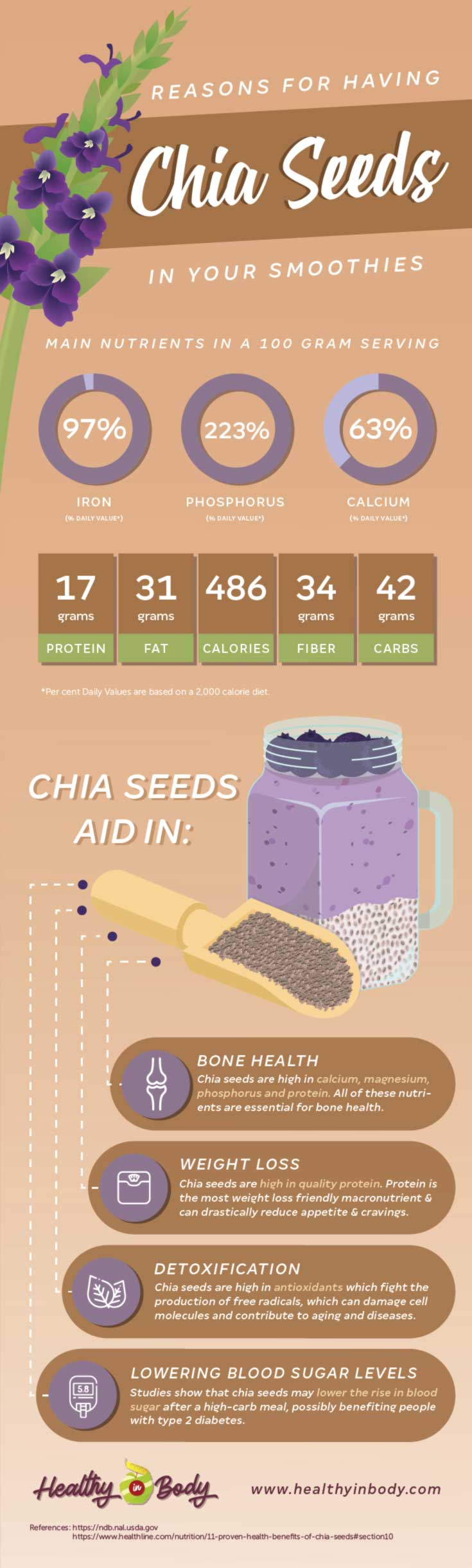 An info-graphic presenting the nutrient content and health benefits of chia seeds and an illustration of a chia seeds next to a glass of a smoothie with chia seed pudding