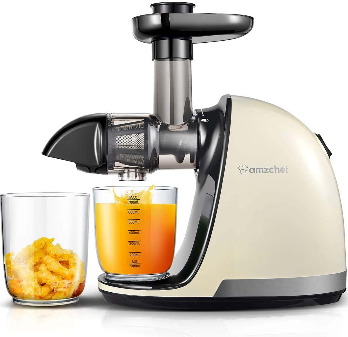 A white and silver slow juicer depositing orange juice on a clear glass cup and orange pulp on another