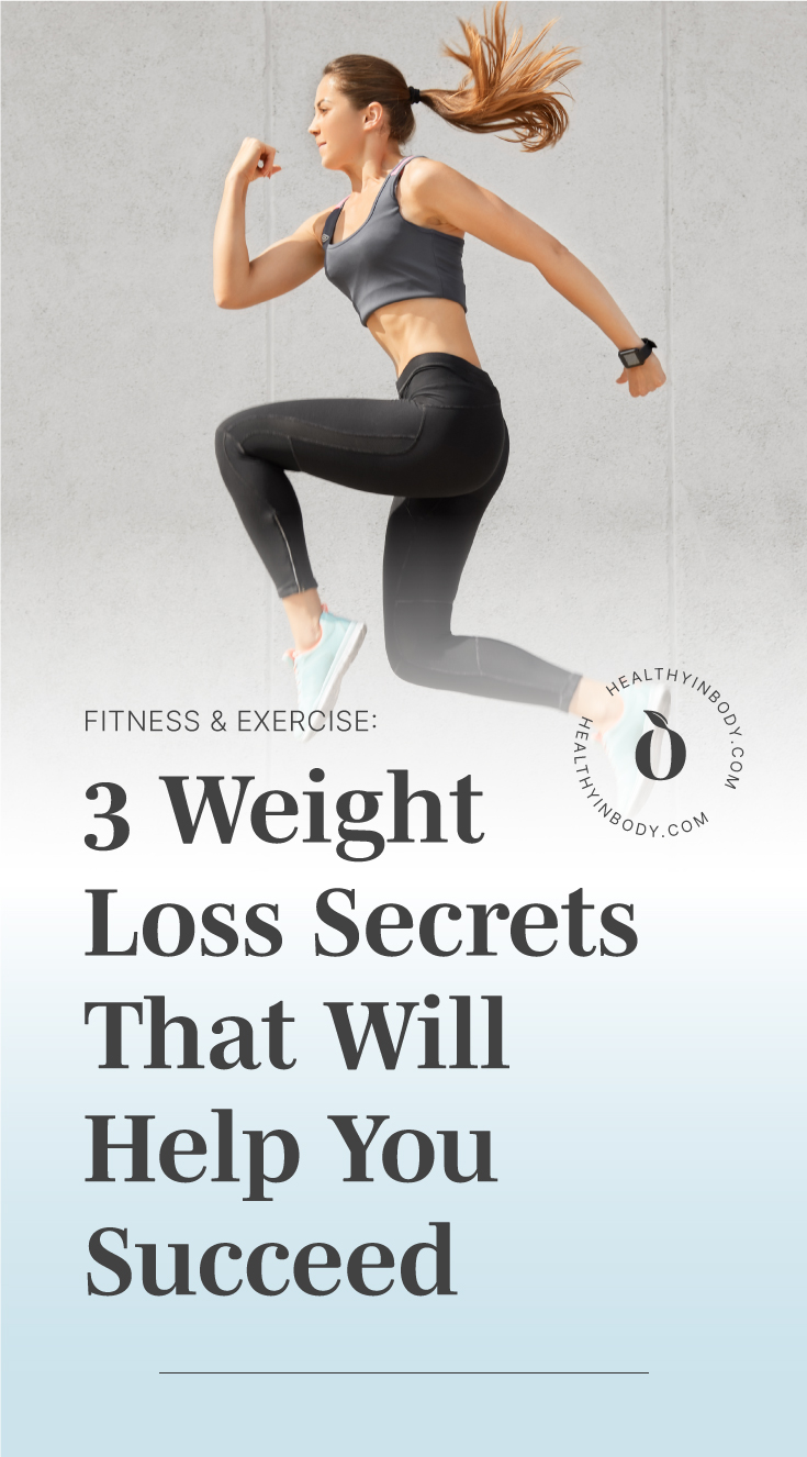 "A woman in fitness outfit jumping followed by text area which says ""Fitness & Exercise: 3 Weight Loss Secrets That Will Help You Succeed"" next to the HIB mark"