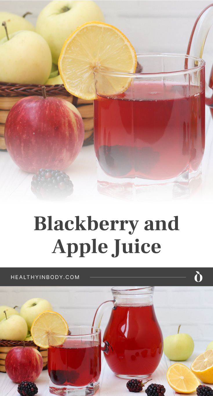"""A glass filled with red juice and a slice of lemon surrounded by apples and blackberries followed by text area that says """"Blackberry and Apple Juice, healthyinbody.com"""" next to a pitcher and a glass filled with red juice and a slice of lemon surrounded by apples and blackberries"""