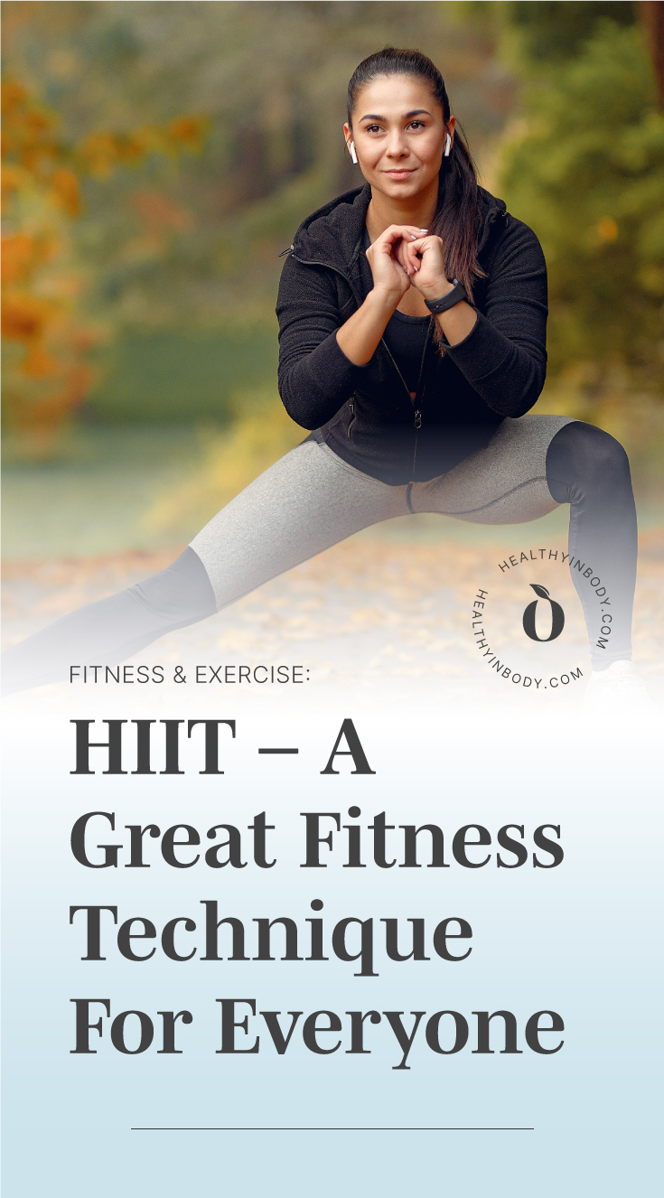 """A woman working out outdoors followed by text area which says """"Fitness & Exercise: HIIT – A Great Fitness Technique For Everyone"""" next to the HIB mark"""