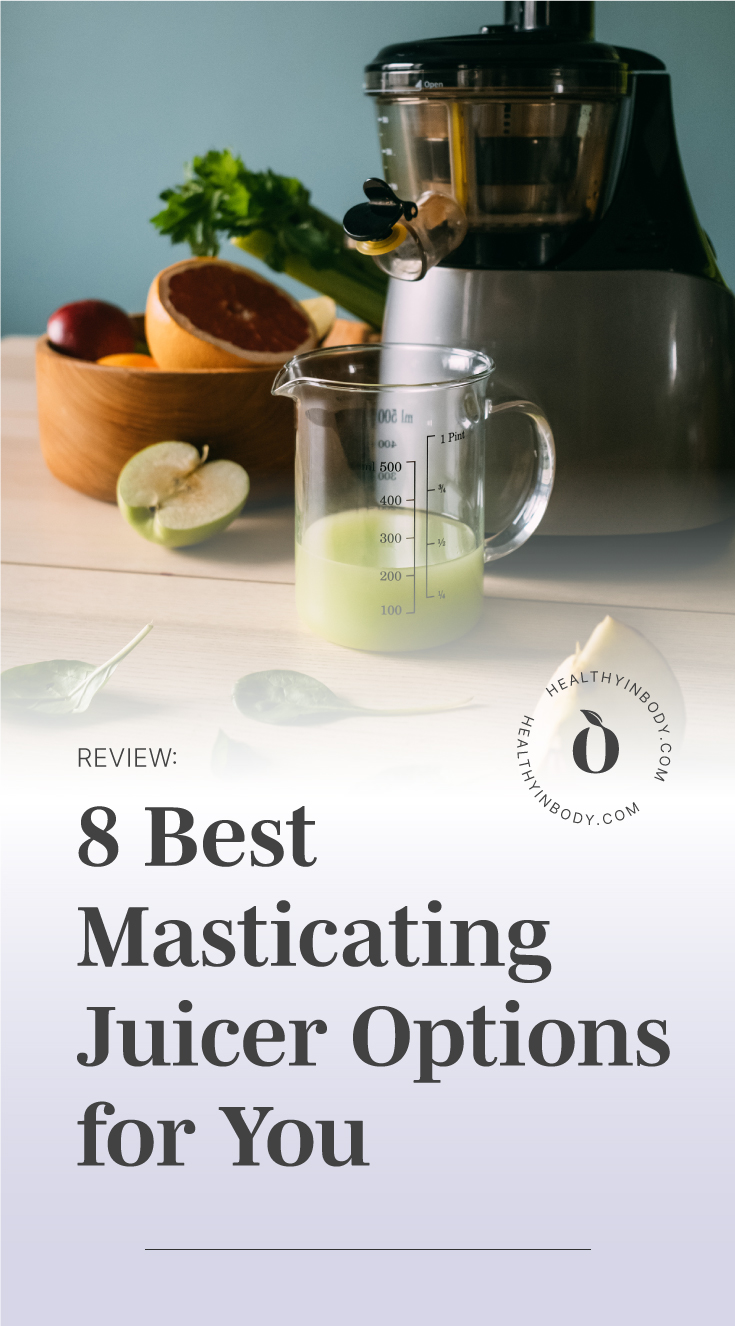 """A slow juicer producing a green juice in a cup followed by a text area which says """"Review: 8 Best Masticating Juicer Options for You"""" next to the HIB Mark"""