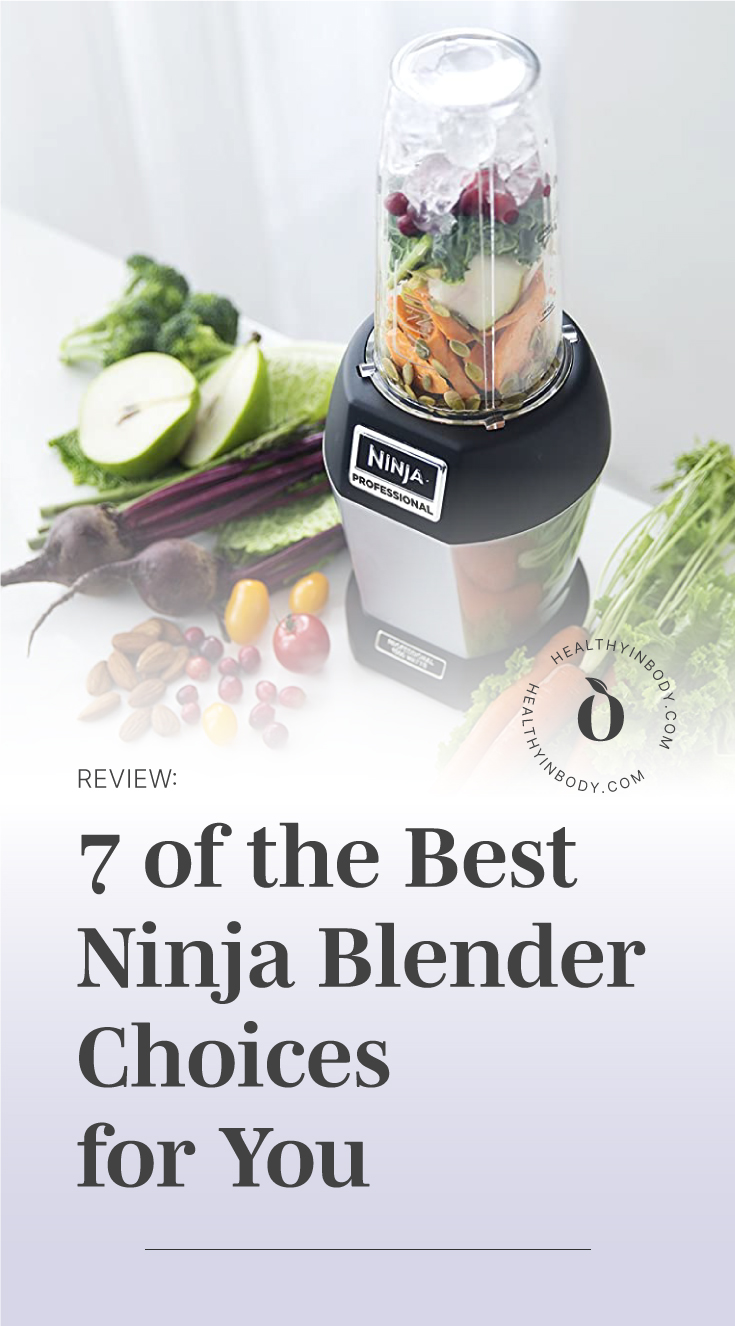 "A compact blender surrounded by fresh fruits and vegetables followed by a text area which says ""Review: 7 of the Best Ninja Blender Choices for You "" next to the HIB Mark"