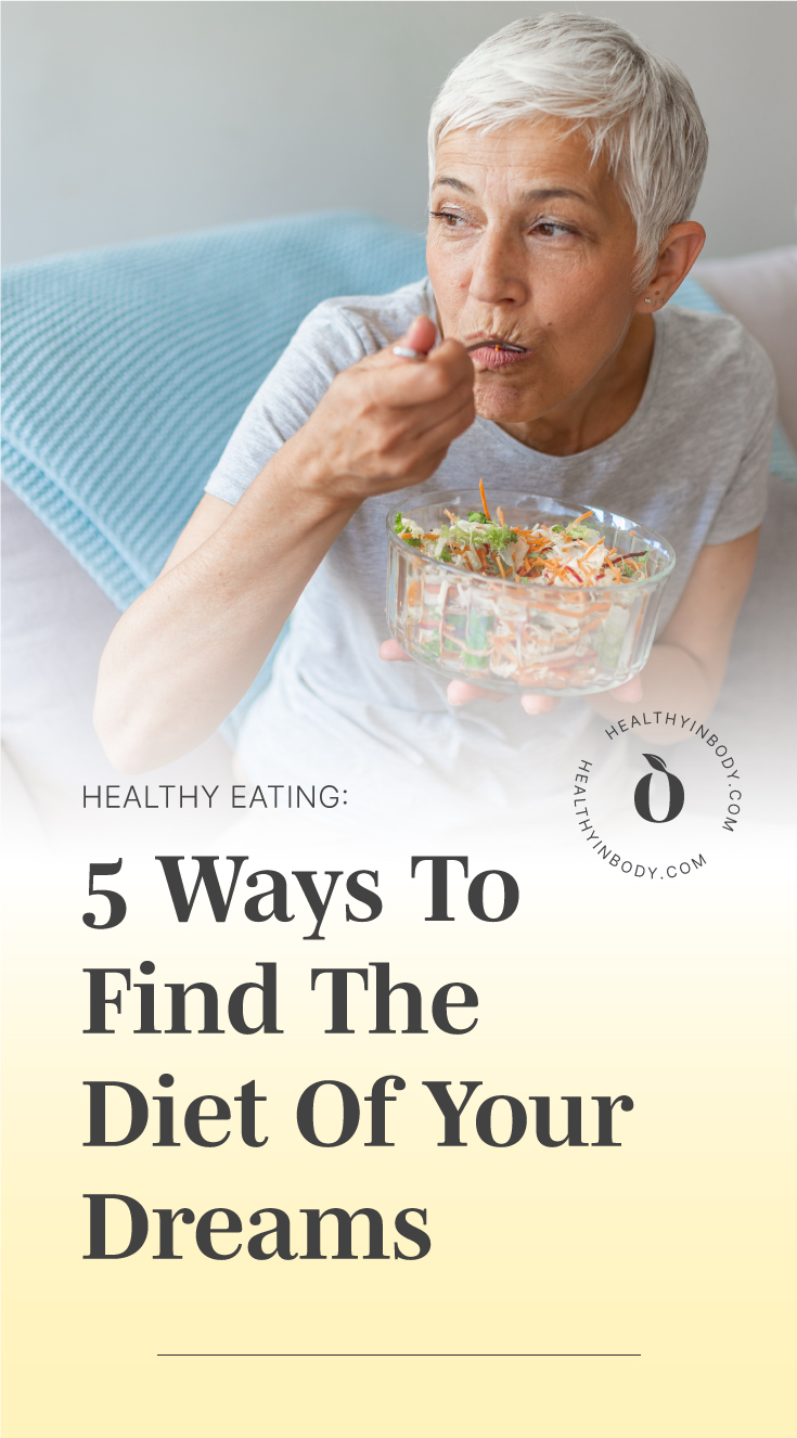 """A woman eating a bowl of salad followed by text area which says """"Healthy Eating: 5 Ways To Find The Diet Of Your Dreams"""" next to the HIB mark"""