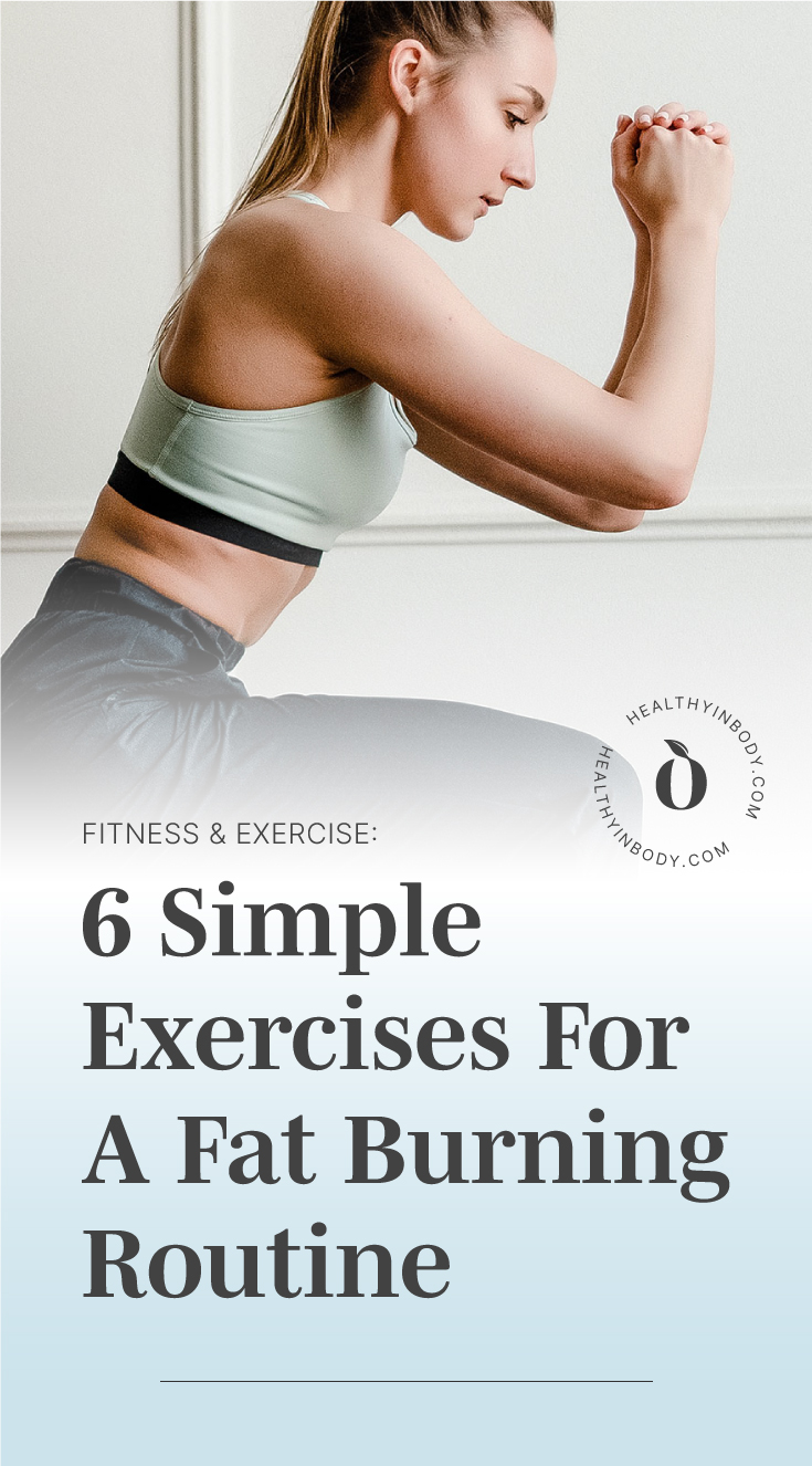 "A woman doing lunges indoors followed by a text area which says ""Fitness and Exercise: 6 Simple Exercises For A Fat Burning Routine"" next to the HIB mark"
