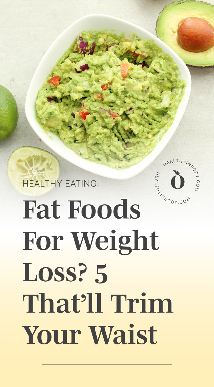 """A bowl of guacamole followed by text area which says """"Healthy Eating: Fat Foods For Weight Loss? 5 That'll Trim Your Waist"""" next to the HIB mark"""