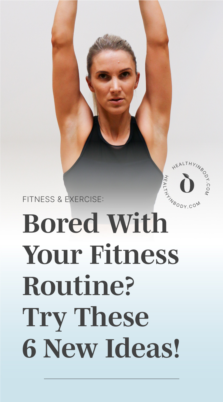 """A looking bored while working out and text area which says """"Bored With Your Fitness Routine? Try 6 New Ideas!"""" next to the HIB Mark"""