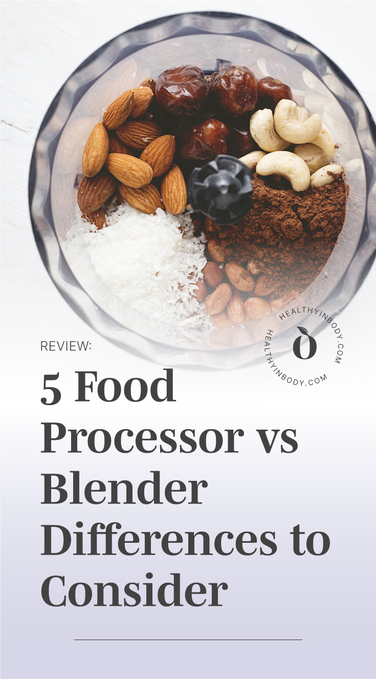 """Top view of various food ingredient in a food processor followed by a text area which says """"Review: 5 Food Processor vs Blender Differences to Consider """" next to the HIB Mark"""