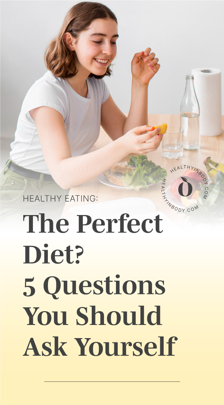 "A woman eating fruits by text area which says ""Healthy Eating: The Perfect Diet? 5 Questions You Should Ask Yourself"" next to the HIB mark"
