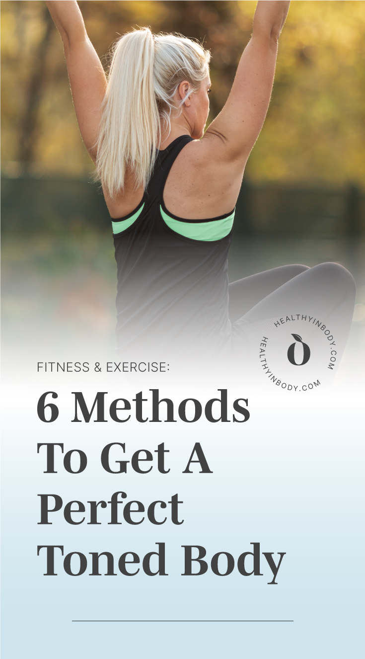 "A woman doing pull-ups outdoors followed by a text area which says ""Fitness and Exercise: 6 Methods To Get A Perfect Toned Body"" next to the HIB mark"