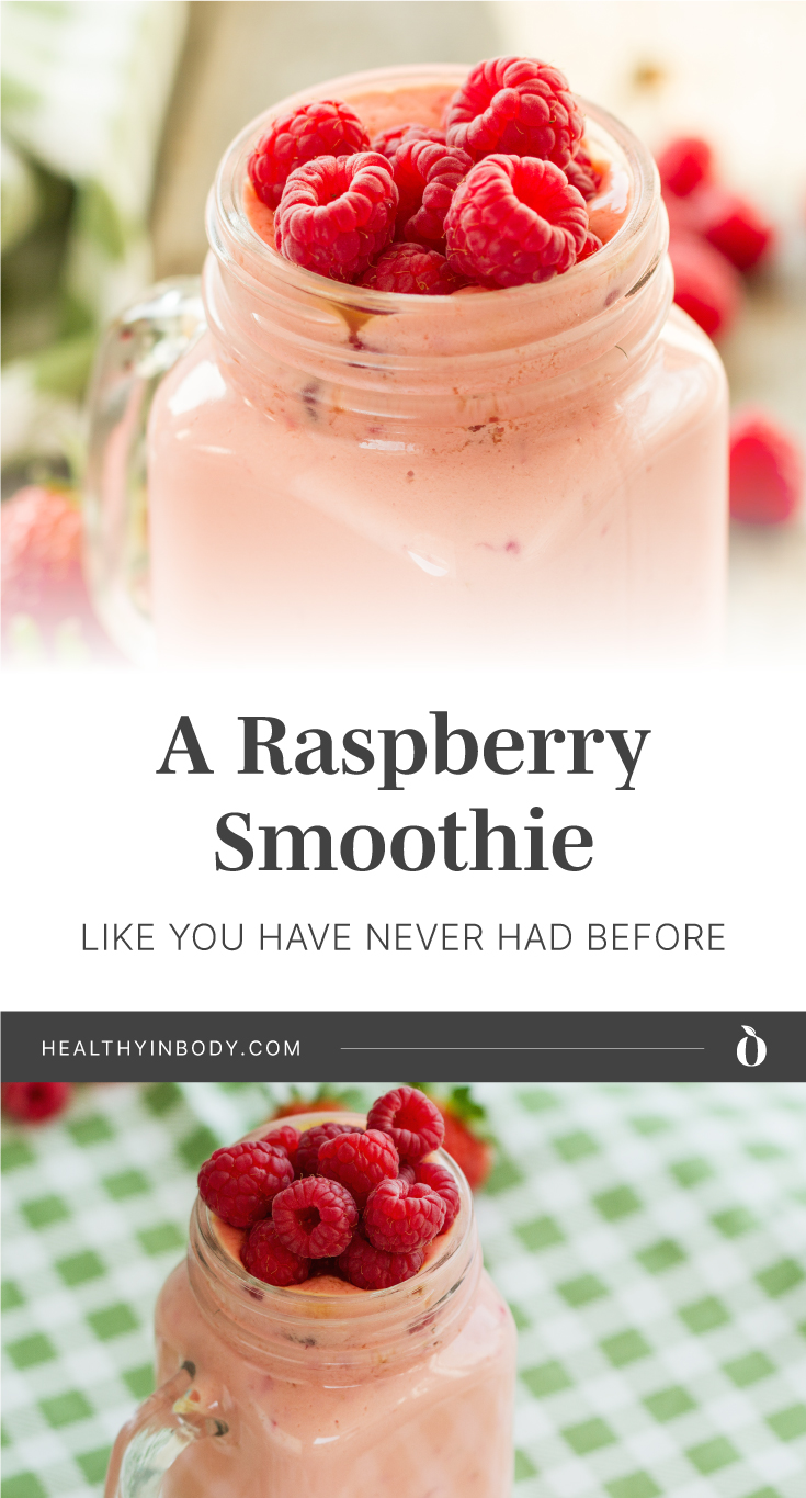 """A mason jar filled with green smoothie topped with fresh raspberries followed by text area which says """"A Raspberry Smoothie Like You Have Never Had Before, healthyinbody.com"""" next to a mason jar filled with green smoothie topped with fresh raspberries"""
