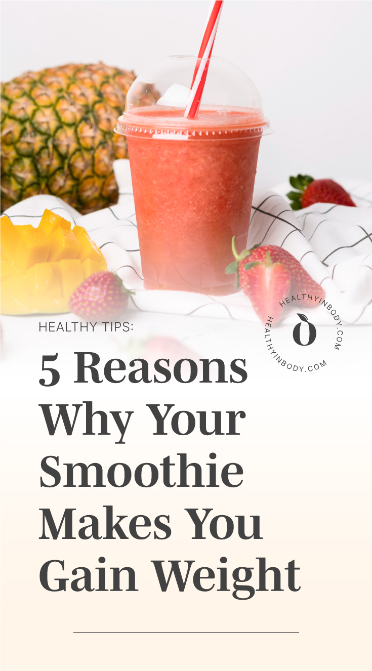 """A red smoothie in a plastic cup with straw followed by text area which says """"Healthy Tips: 5 Reasons Why Your Smoothie Makes You Gain Weight"""" next to the HIB mark"""