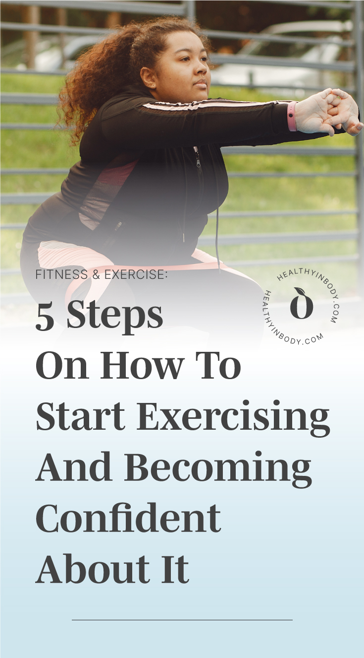"""A woman working out outdoors followed by text area which says """"Fitness & Exercise: 5 Steps To How To Start Exercising And Becoming Confident About It"""" next to the HIB mark"""