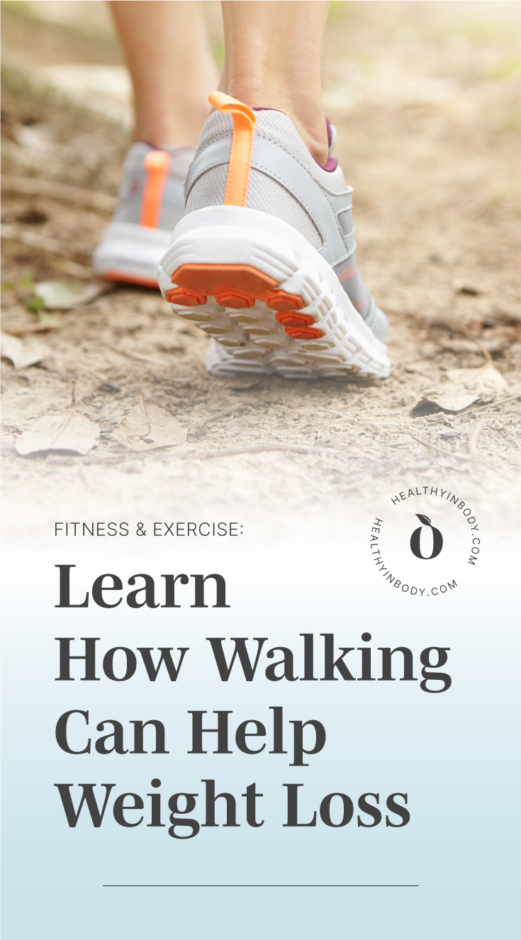 """A woman's leg walking followed by text area which says """"Fitness & Exercise: Learn How Walking Can Help Weight Loss"""" next to the HIB mark"""