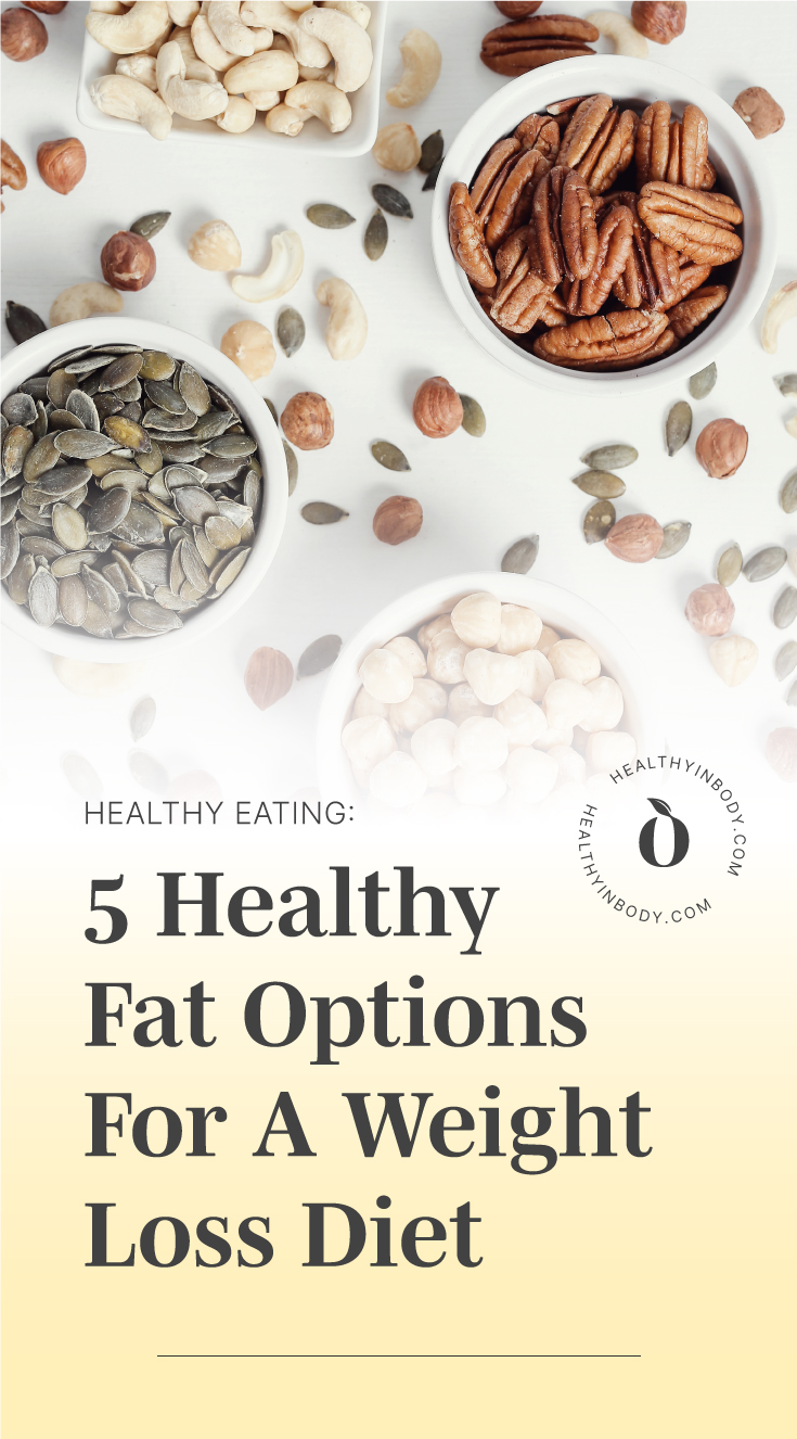 """Bowls of various types of nuts followed by text area which says """"Healthy Eating: 5 Healthy Fat Options For A Weight Loss Diet"""" next to the HIB mark"""