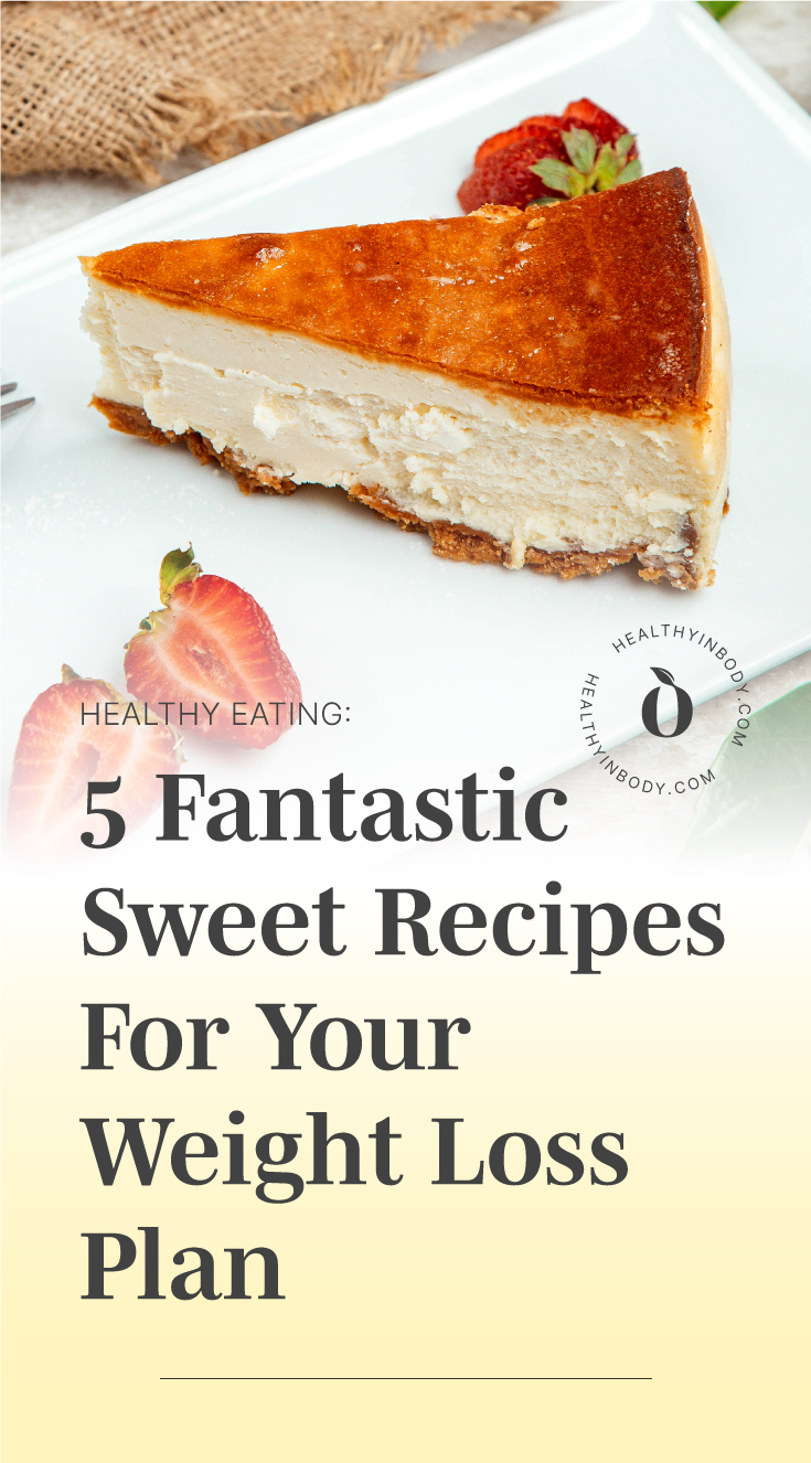 """A slice of cheesecake followed by text area which says """"Healthy Eating: 5 Fantastic Sweet Recipes For Your Weight Loss Plan"""" next to the HIB mark"""