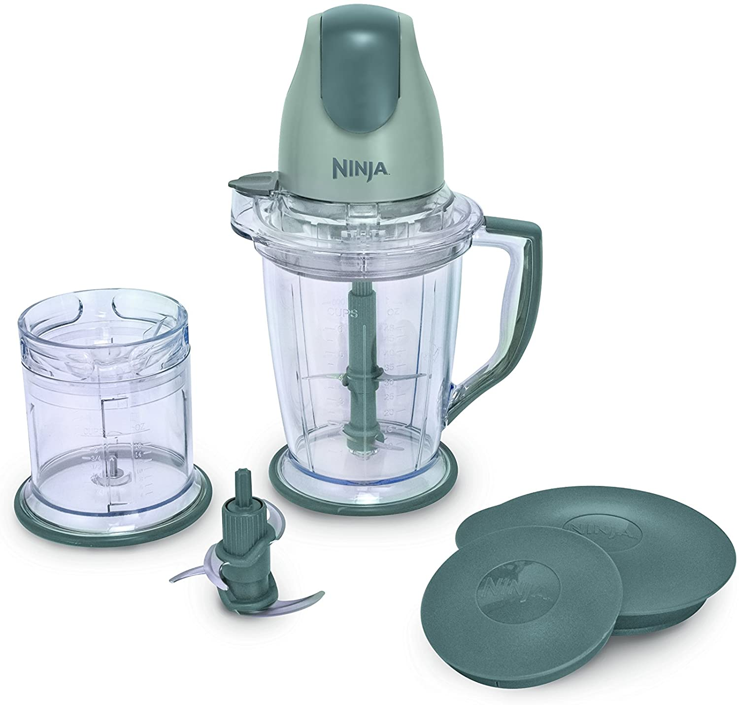 Ninja 400-Watt Blender/Food Processor with plastic green handle and detached covers and blade.