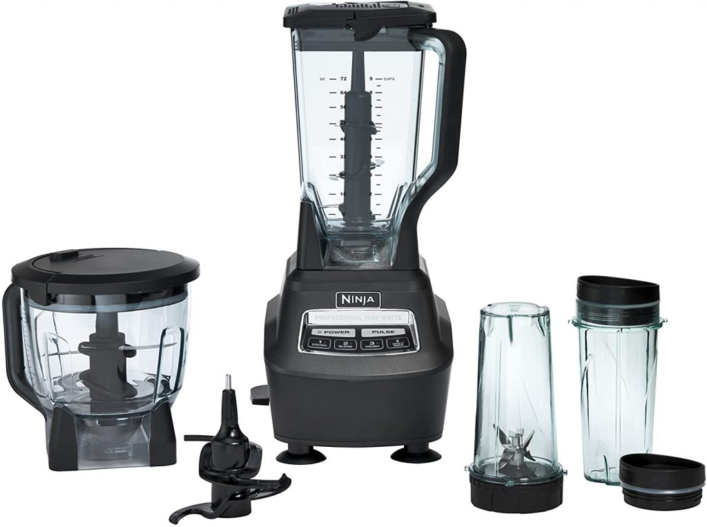 Ninja brand blender with a matching set of removable compact blender and food processor containers