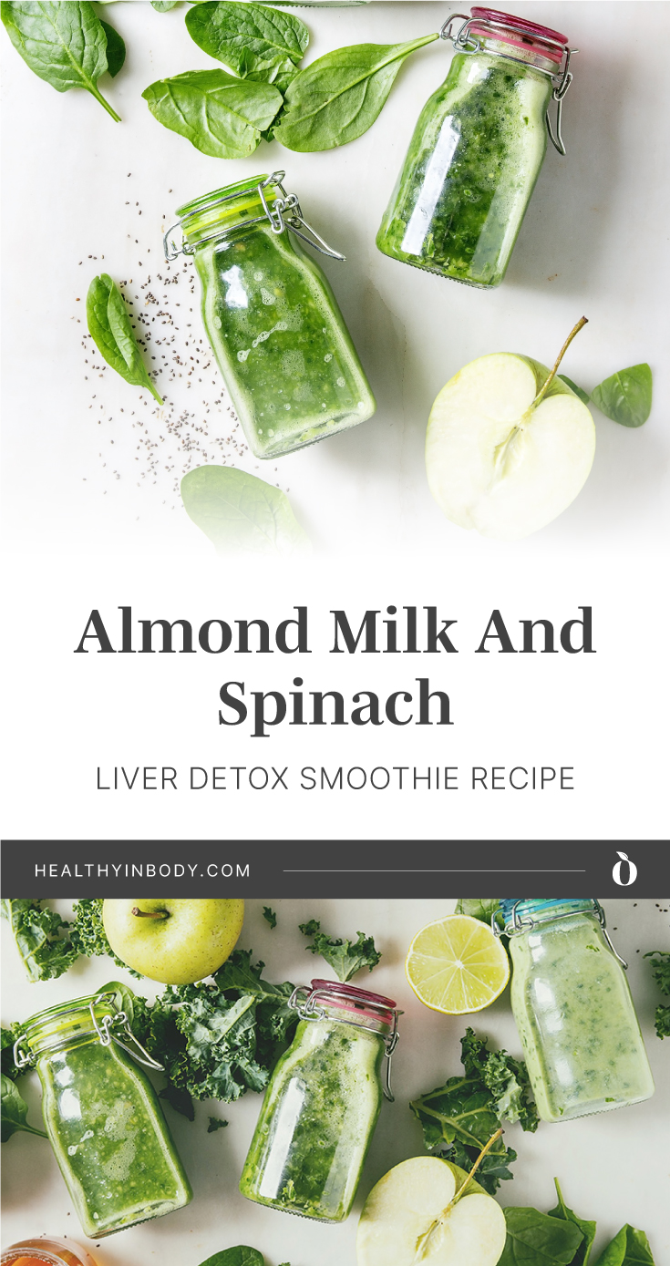 "Bottles of green smoothie surrounded by spinach leaves followed by text area which says ""Berry And Banana Liver Detox Smoothie Recipe, healthyinbody.com"" next to bottles of green smoothie surrounded by spinach leaves"