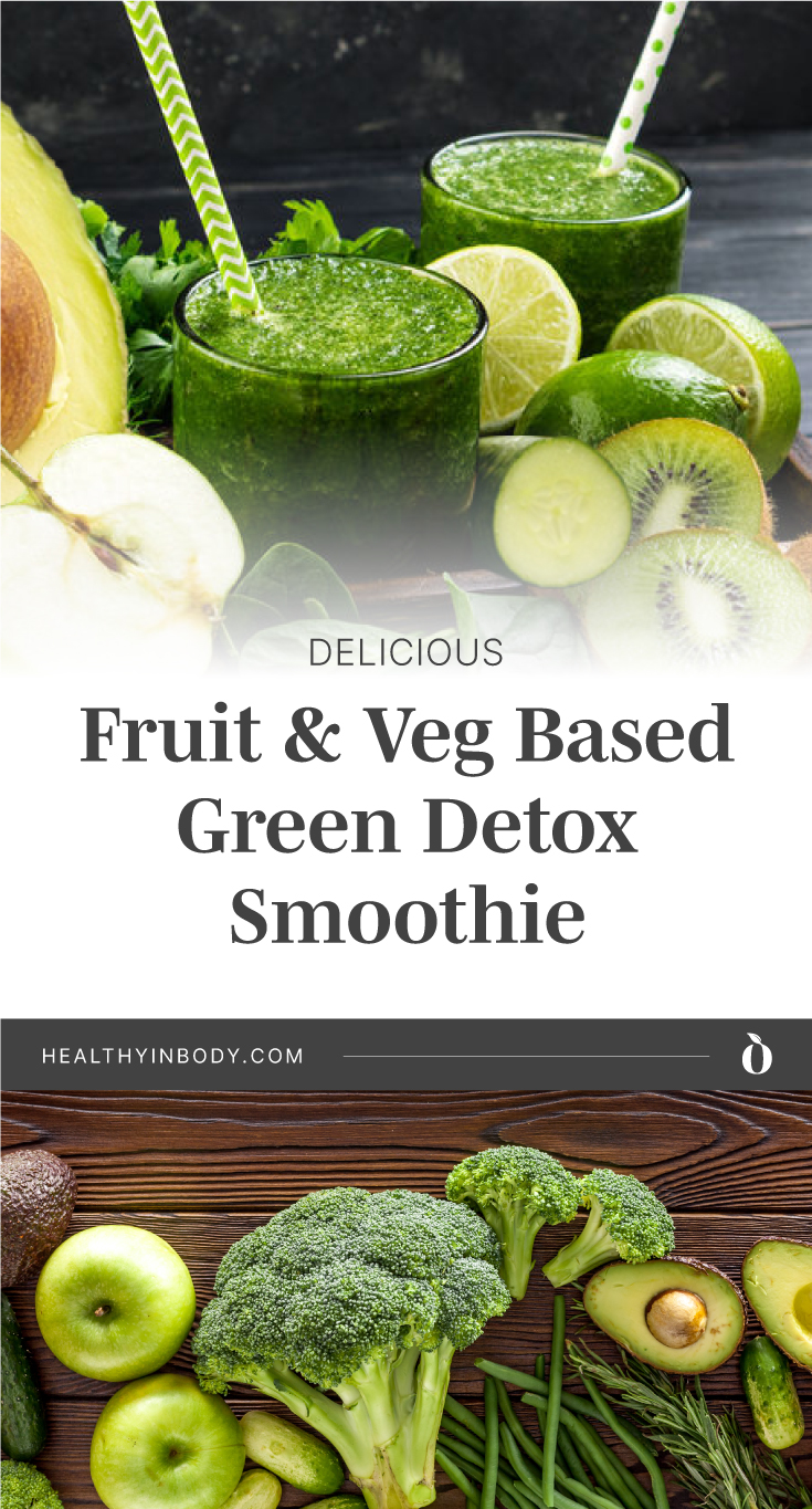 """Two glasses of green smoothie surrounded by green fruits and veggies followed by text area which says """"Delicious Fruit & Veg Based Green Detox Smoothie , healthyinbody.com"""" next to green fruits and veggies"""